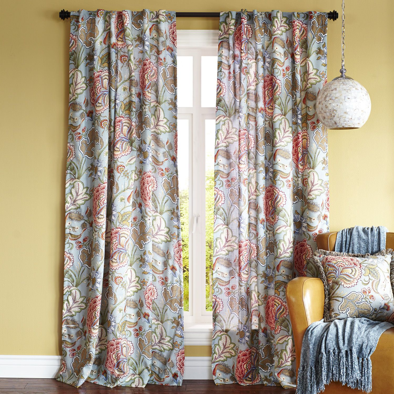 pier 1 living room rugs%0A Pier   Floral Curtains to match office chair  for office