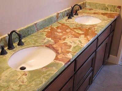 Blat Z Zielonego Onyksu Green Onyx Top Onyx Countertop Bathroom