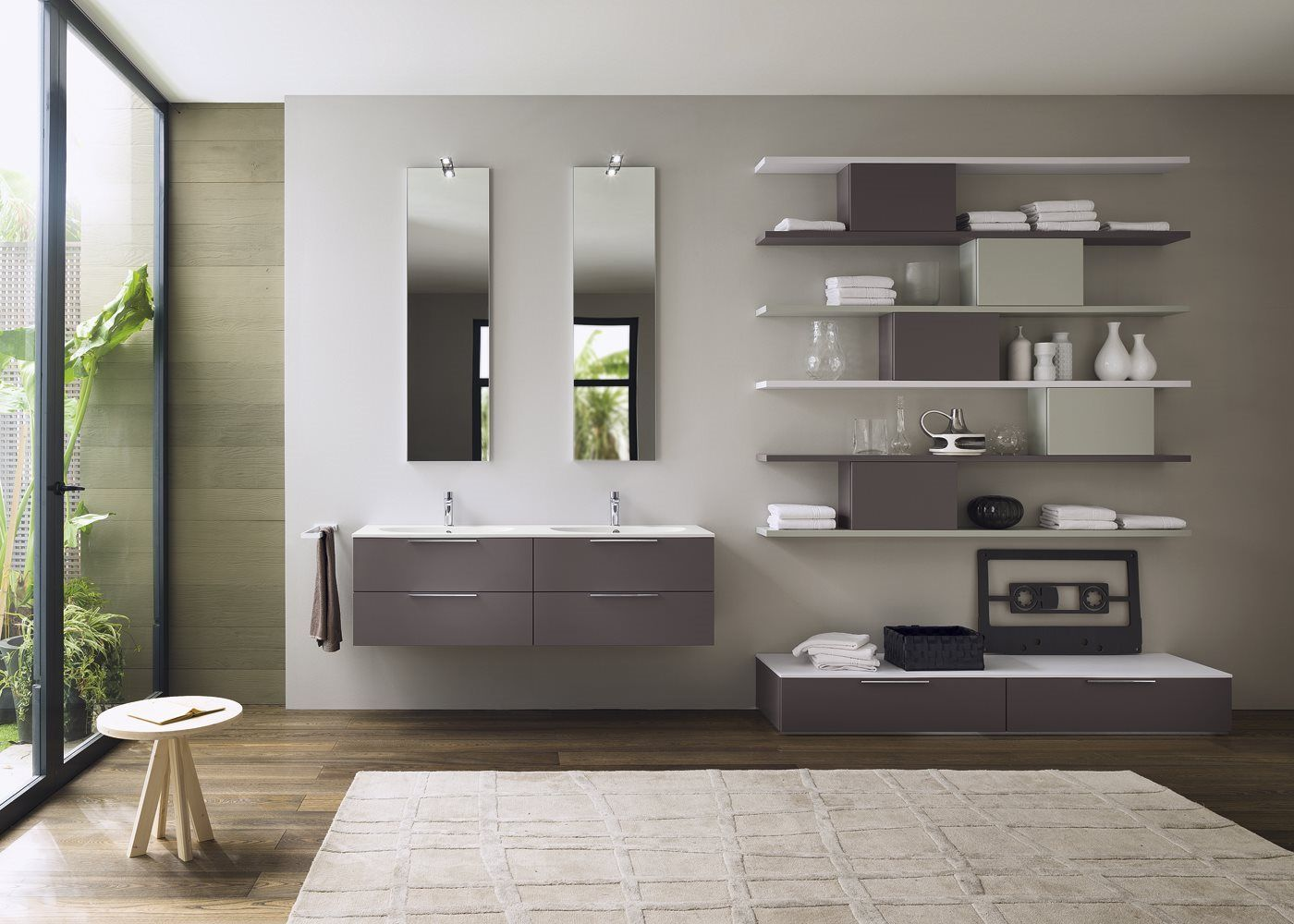 stylish modular wooden bathroom vanity. The Modular System Progetto Allows You To Create Complete Solutions For Bathroom Decorations. Stylish Wooden Vanity