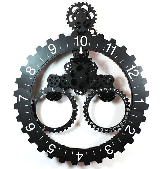 Gear Wall Decor hands-free gear calendar wall clock | extra large | wall clocks