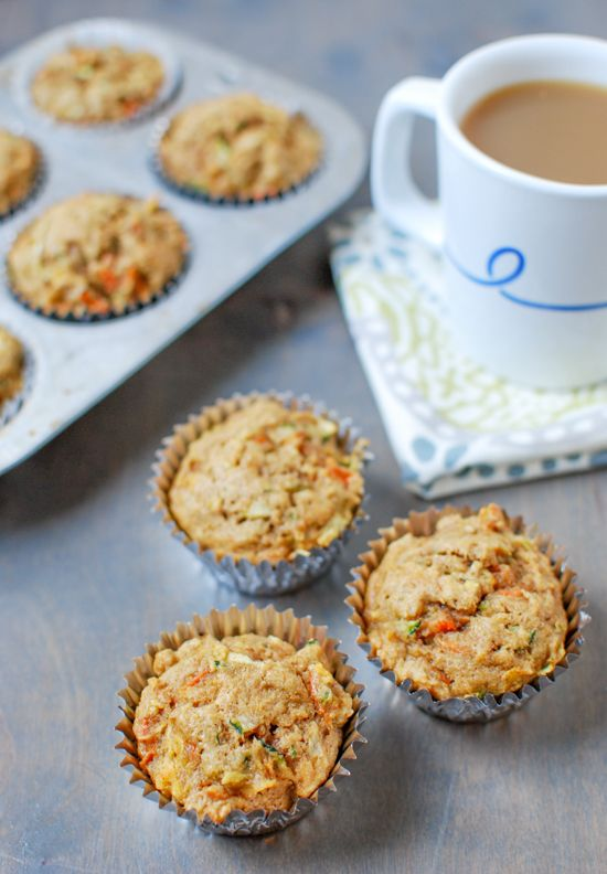 Packed with fruits and vegetables, this recipe for Zucchini Carrot Apple Muffins is lightly sweetened, making them the perfect morning snack!