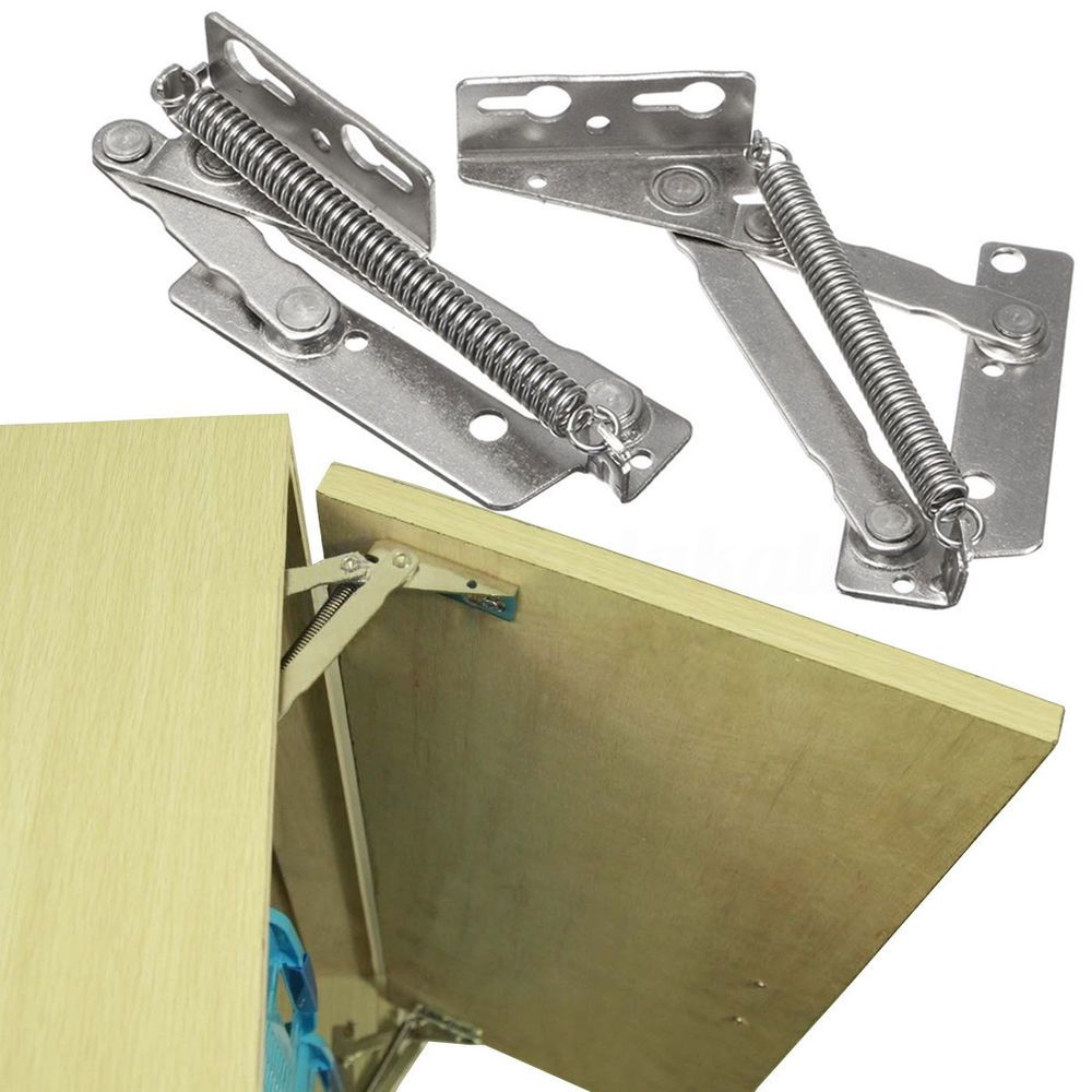 2X Stainless Steel Spring Hinges Cabinet Door Lift Up Flap Top Support  Cupboard