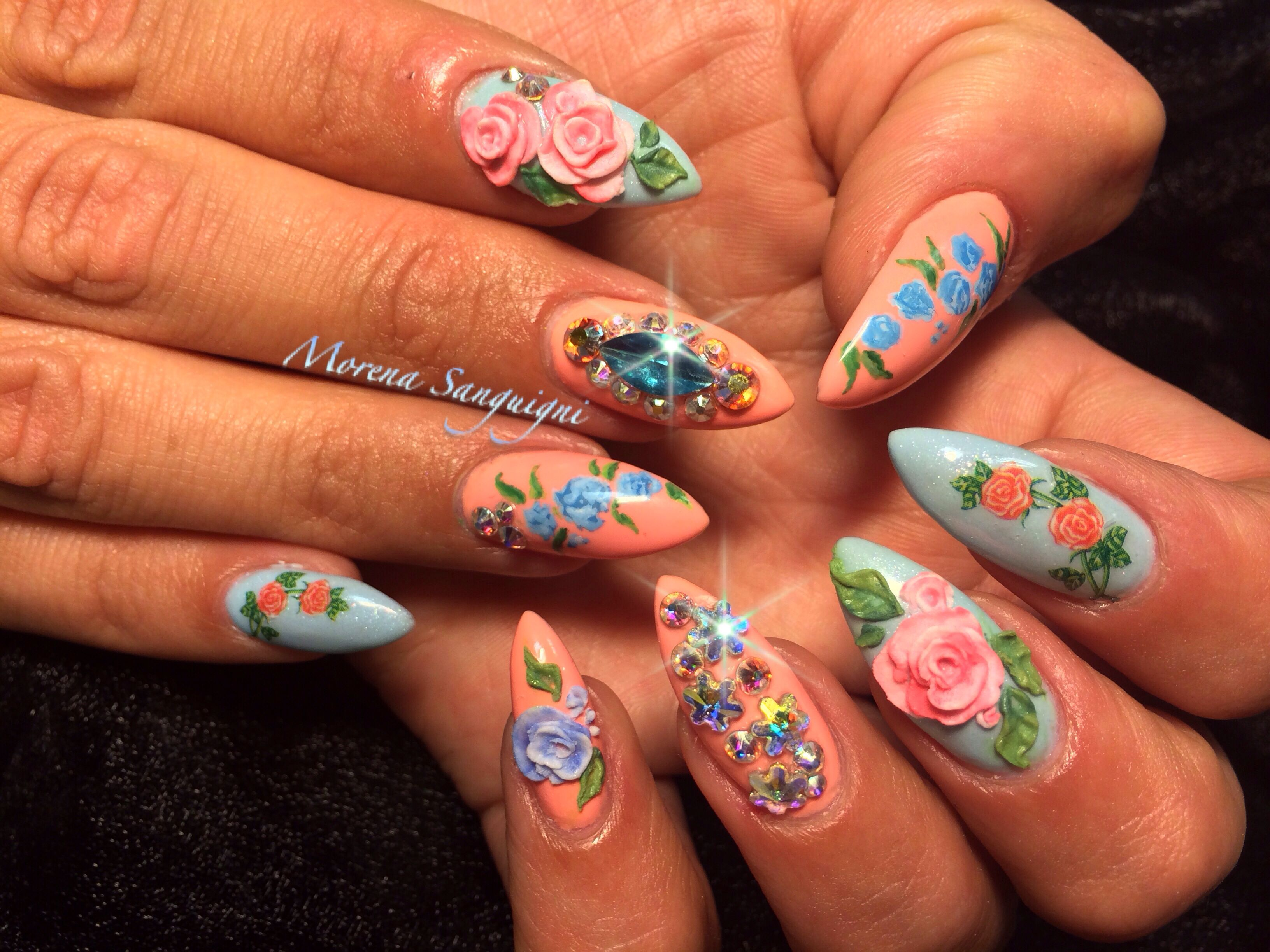 Acrylic Nails With Hand Painted Nail Art Roses Peach Baby