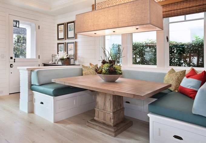 A Half Wall Turns Small E Into Foyer And The Banquette Also Dining Nookdining Tabletable Benchdining