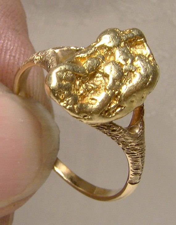 14k Yellow Gold Nugget Ring With Genuine 18k Gold Nugget C1910 Gold Nugget Ring Gold Nugget Jewelry Gold Nugget