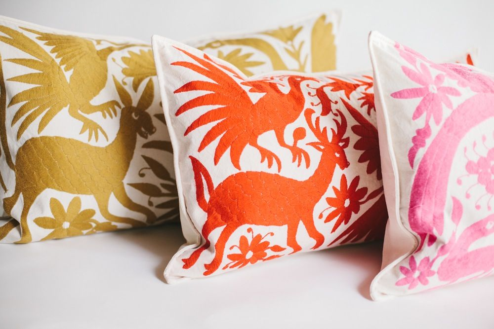 These Traditional Otomi Embroidered Oblong Pillows Will