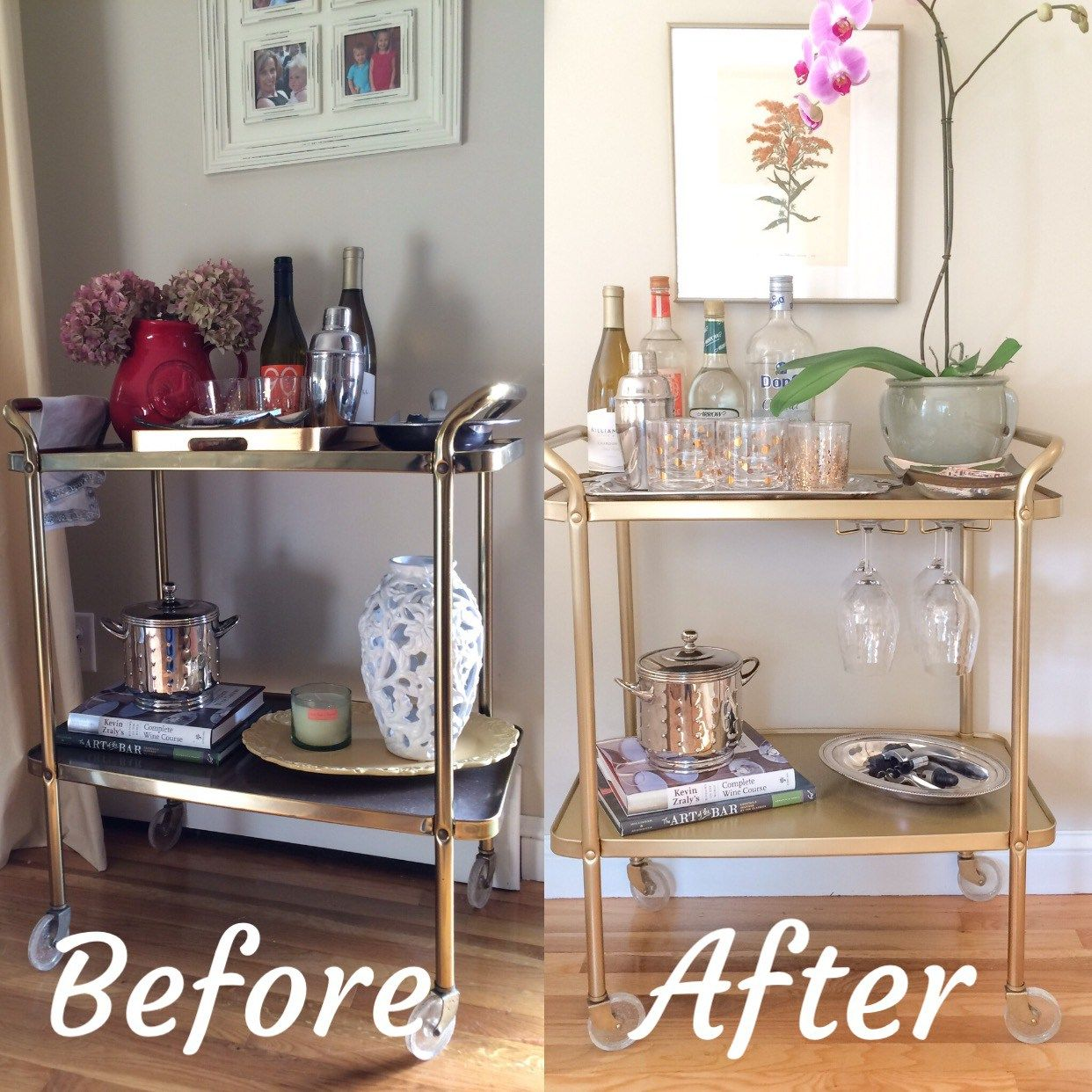 Vintage Bar Cart >> Vintage Bar Cart Makeover Using Rust Oleum Metallic Gold