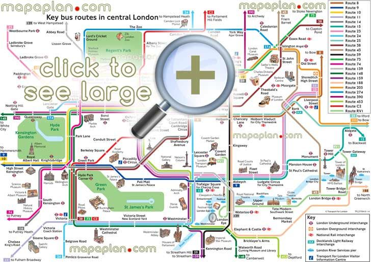 Map Bus London.Map Bus Route Network Main Tourist Attractions Central London Key