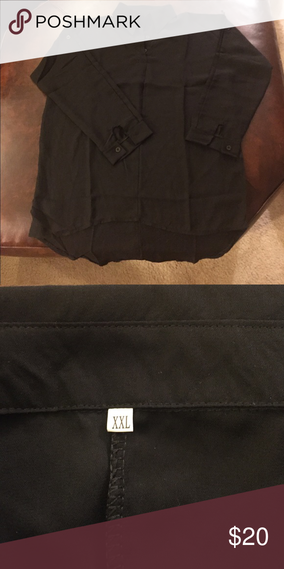 NEW*Women's XXL black silky blouse. 💲⬇️ Women's black 3/4 sleeve, black blouse. Size XXL.Can't remember if this is silk or not; I think so. packaging is in German so can't be certain Brand new from Zanzea in Germany. I took the blouse out of plastic to take a pic. (Hence the wrinkle lines) Very flowy and light. A little Shorter in front than in back. Zanzea Tops Blouses