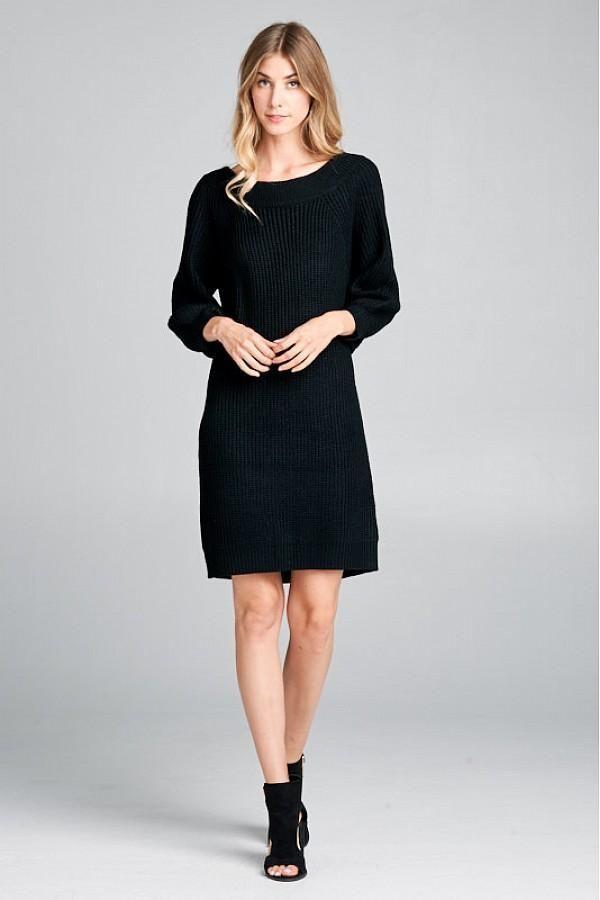 04c7b102889 A Black sweater dress starts a cool sweater dress outfit. This ribbed knit  sweater dress