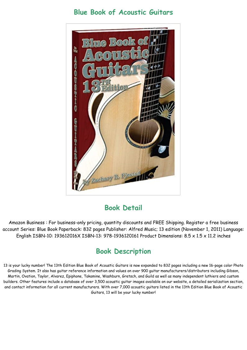 Download E B O O K Blue Book Of Acoustic Guitars Pre Order Blue Books How To Memorize Things Guitar