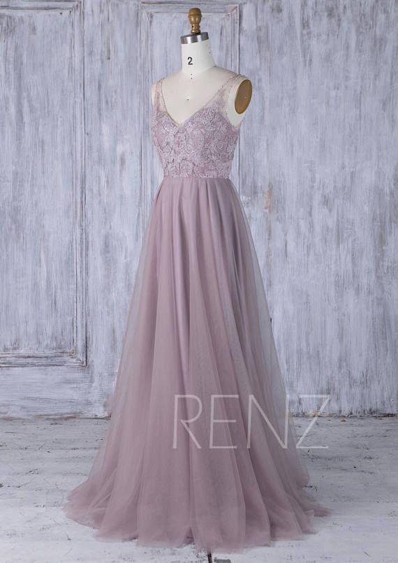 3b9b80b8dd5 Wedding Dress Lace Boho Beaded Mauve Bridesmaid Dress Long V Neck ...