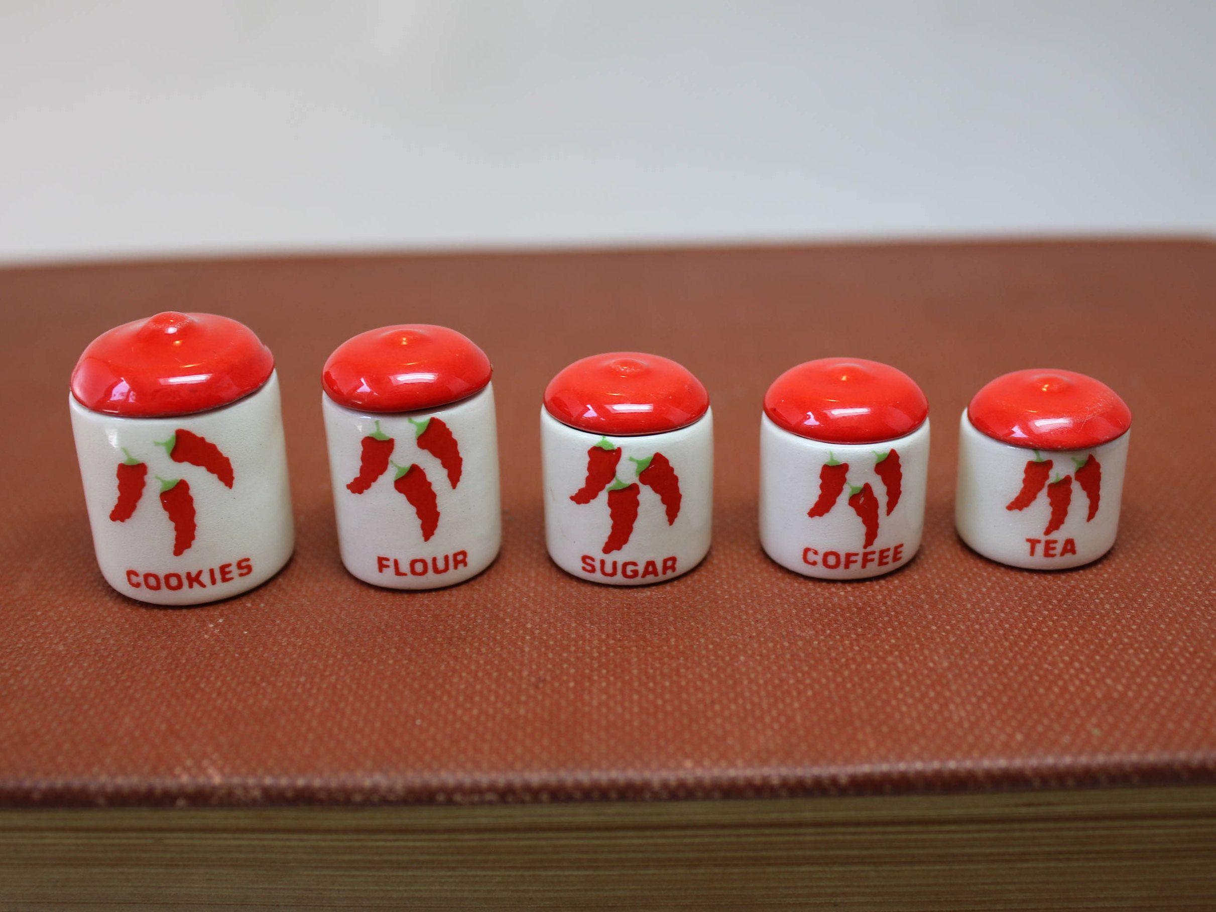 Dollhouse Miniature Set Of 5 Graduated Ceramic Chili Etsy Ceramic Accessory Ceramic Canisters Miniatures