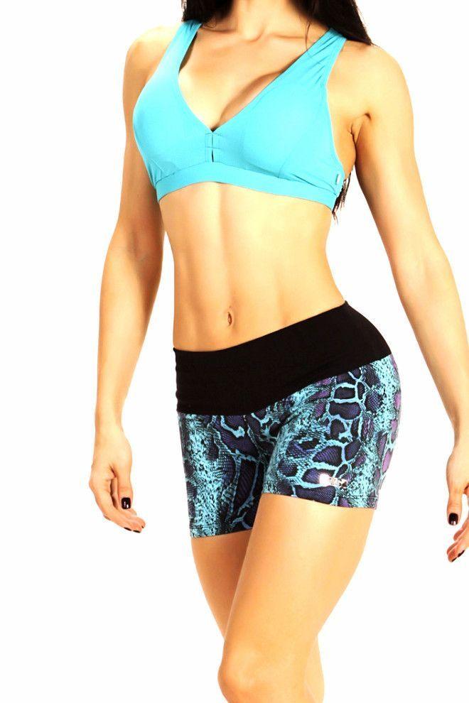 Feline Blue Power Workout Shorts