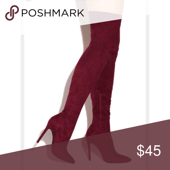 Thigh high burgundy boots. NEVER WORN Thigh high sultry boots. Never got the chance to wear them! Perfect condition. Like new! Perfect for any occasion and a perfect fall color! Shoes Over the Knee Boots