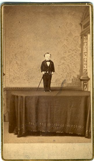 """Francis Joseph Flynn: """"General Mite."""" Billed as the world's smallest man; 14 years old, 22"""" and 9 pounds."""