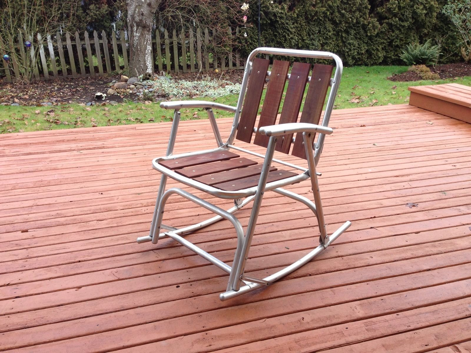 Aluminum Webbed Lawn Chairs 24 Inch 1 Vtg Redwood Outdoor Patio Porch Rocking
