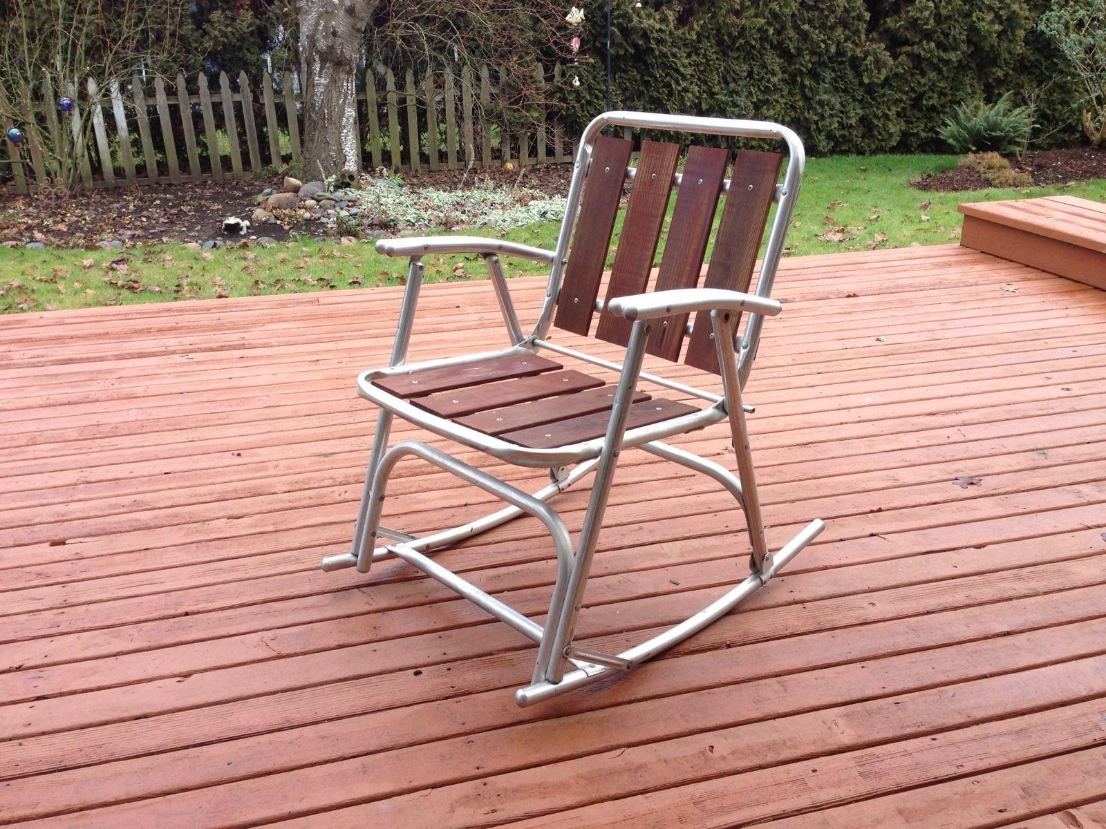 Details 2 Vtg Redwood Slat & Aluminum Folding