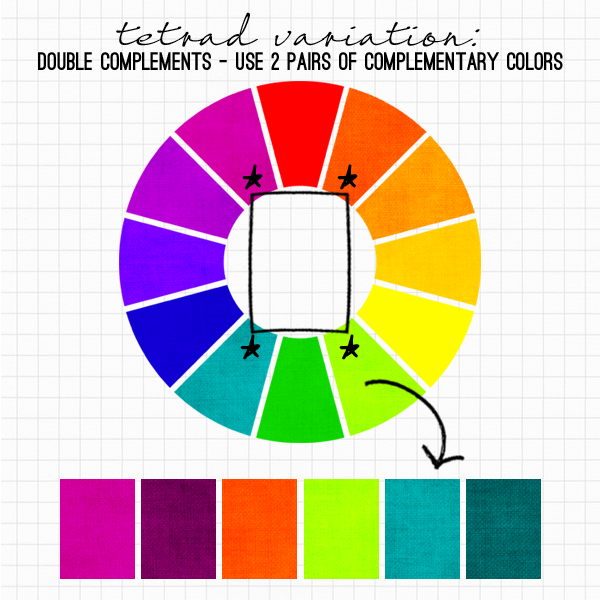 Double Complements - Use 2 Pairs of Complementary Colors at http://www.
