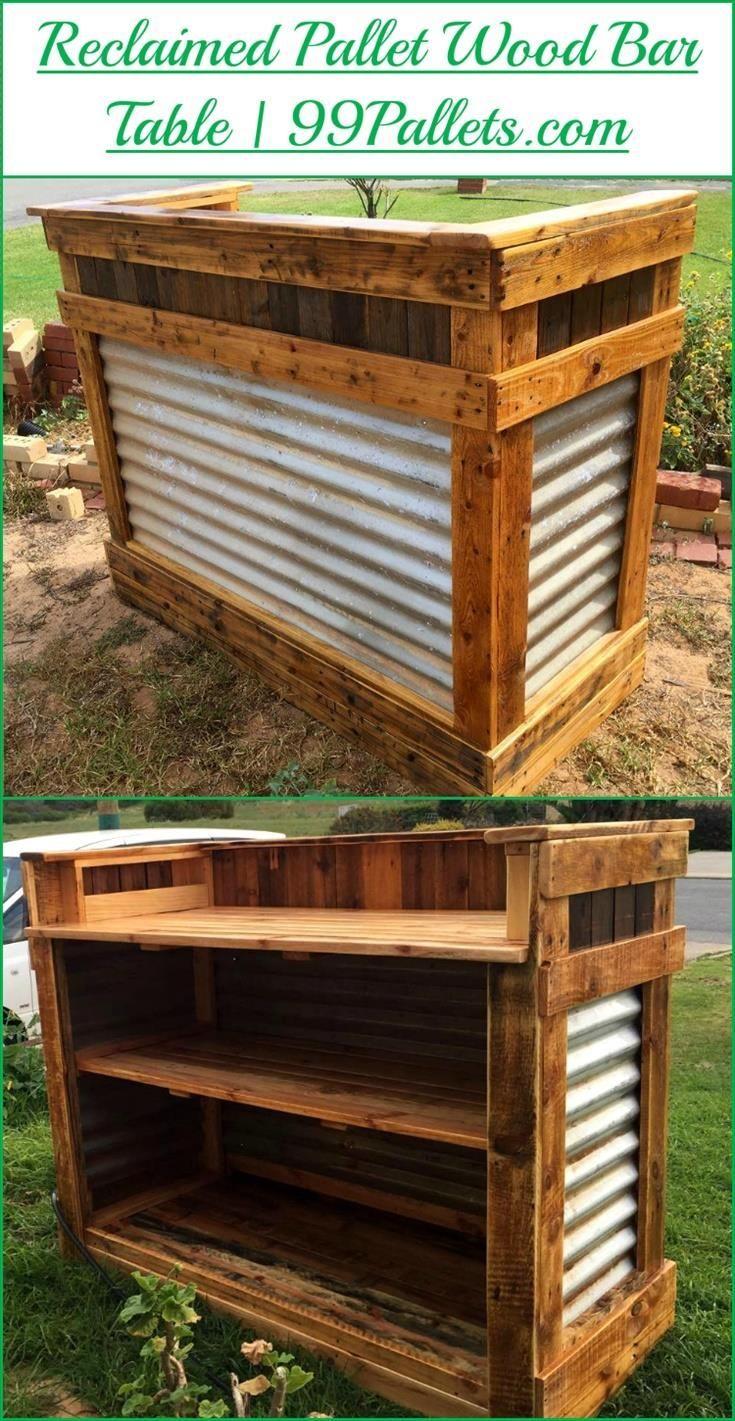 DIY Reclaimed Pallet Wood Bar Table | Diy projekte, Palettentische ...