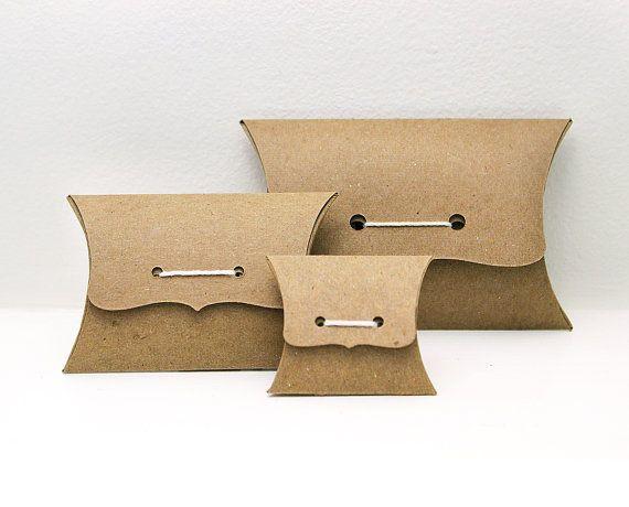 Set almohada caja Sampler - cajas de regalo de lazo de cinta, medio, pequeño, paquete de variedad de Mini - 2 de cada tamaño - reciclar envases eco Kraft