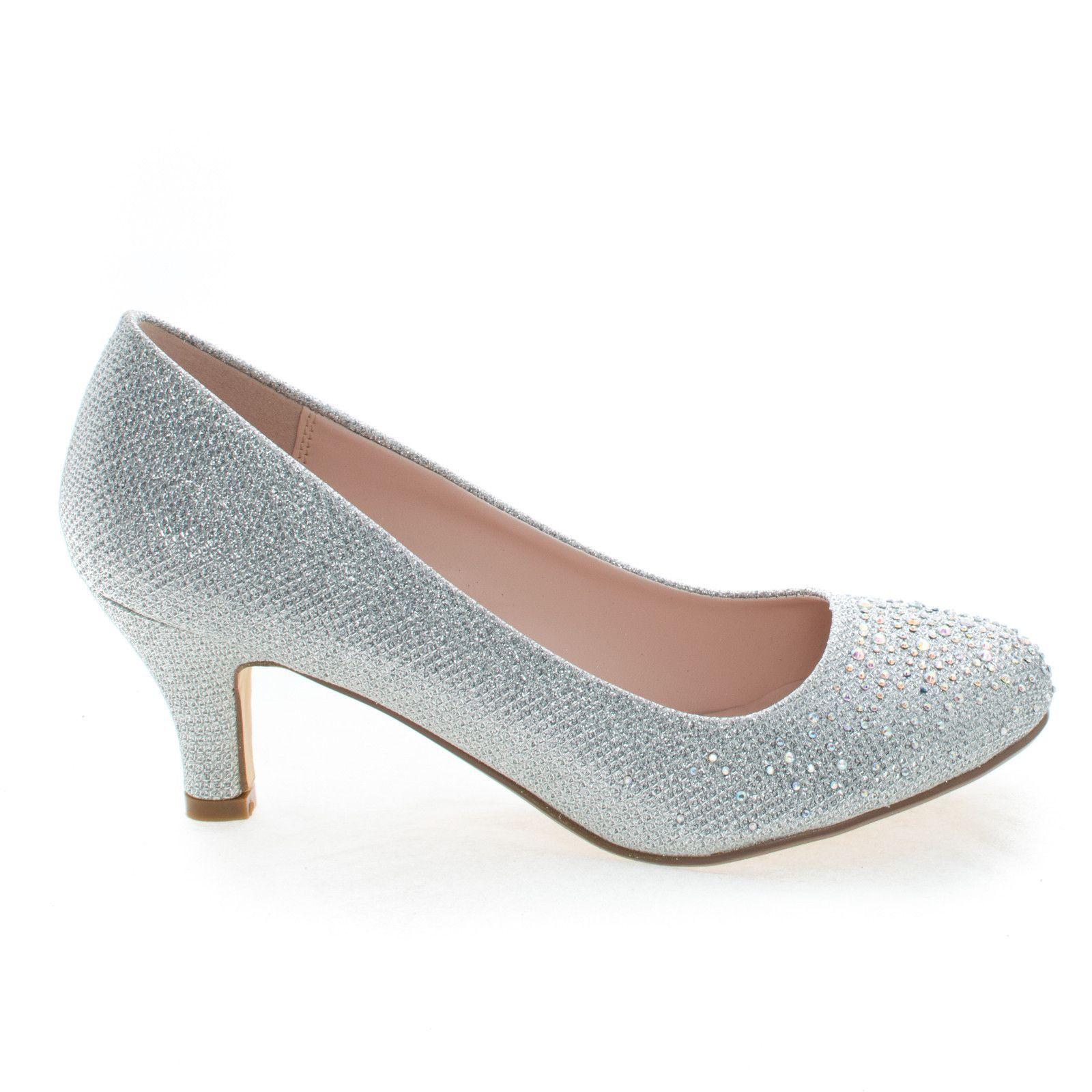 Wonda1 Silver Round Toe Low Heel Classic Dress Pump In