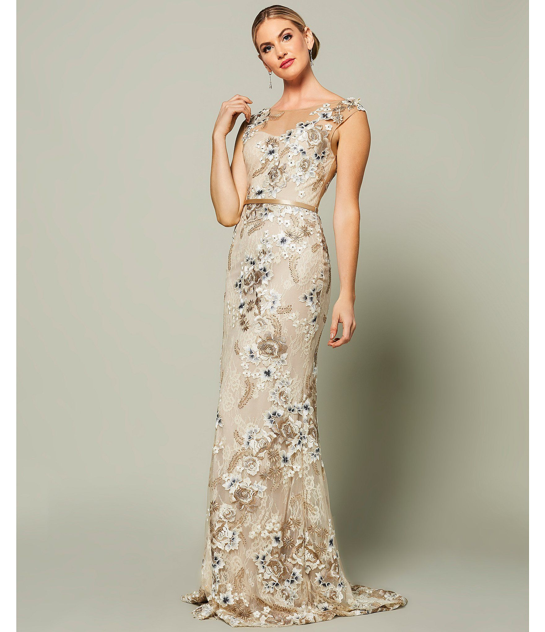 Terani Couture Floral Embroidered Lace Gown Dillards Floral Embroidered Dress Formal Evening Dresses Gowns