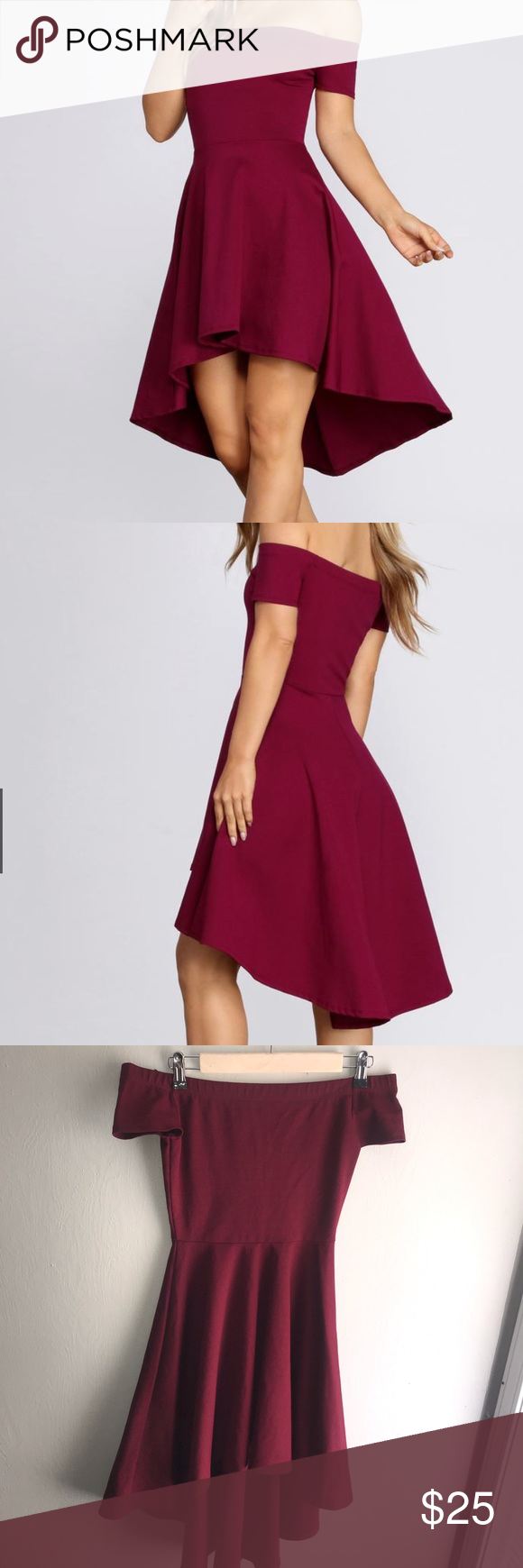Maroon off-shoulder hoge-laag skaterjurk Deze jurk is een hoog-laag ontwerp met …