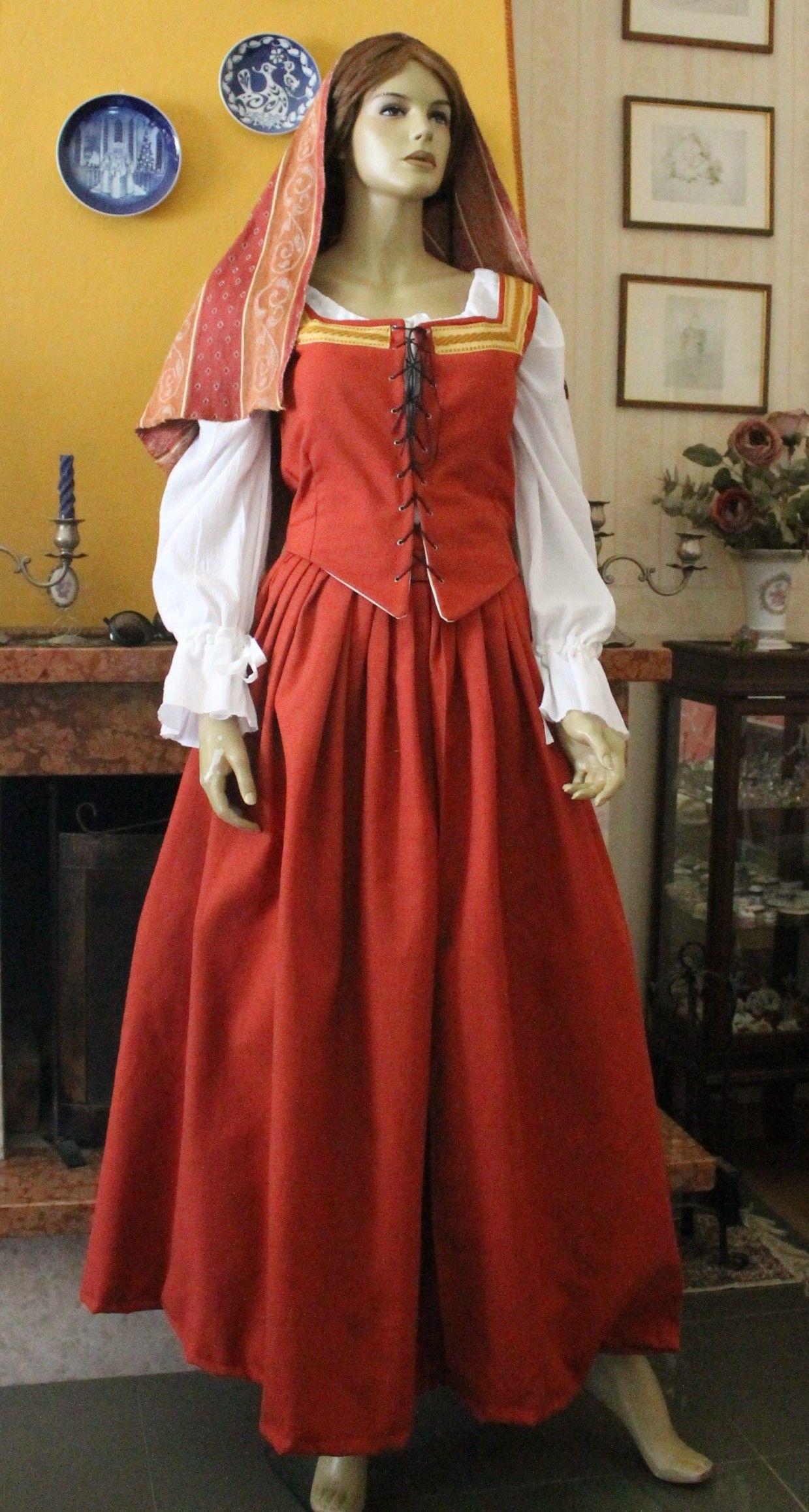 3c44c67a828d ABITI COSTUMI STORICI POPOLARI 1500 Abito Costume storico 1400 femminile