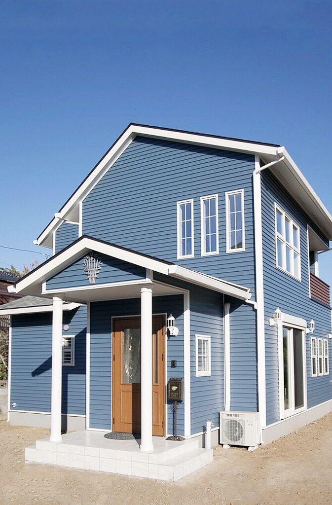 空色の樹脂サイディングの外観 ファーストステージ 一級建築士事務所 茨城県 水戸 つくばで設計士と建てる ちょっとカッコイイ家づくり 住宅 外観 アメリカンハウス 外観 住宅 モダン
