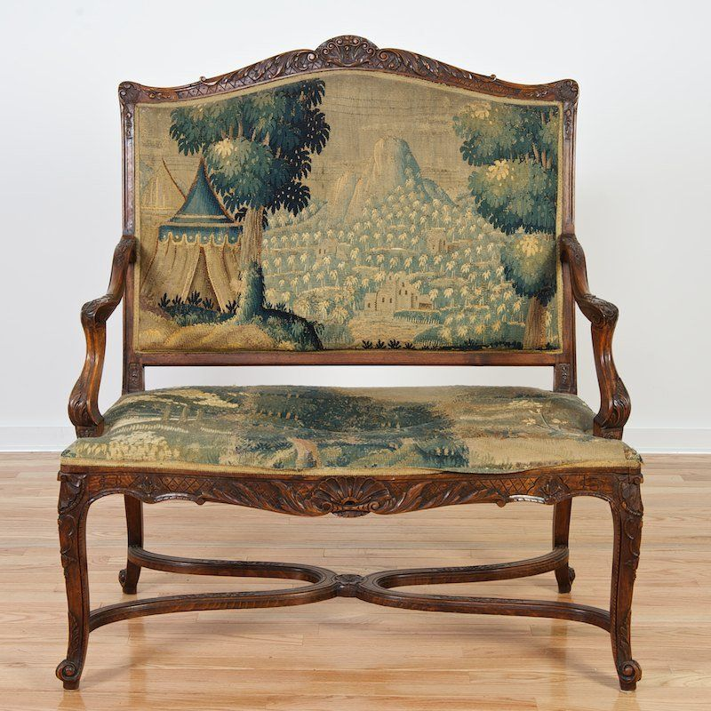 Antique Tapestry Sofa: Regence Style Settee With Flemish Tapestry Seating On