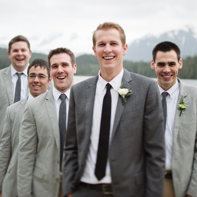 Groom in the groomsmen suit groomsmen in the same color with only ...