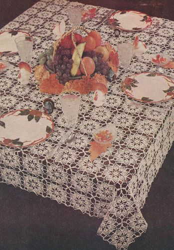 Vintage Crochet Pattern Thanksgiving Tablecloth Design