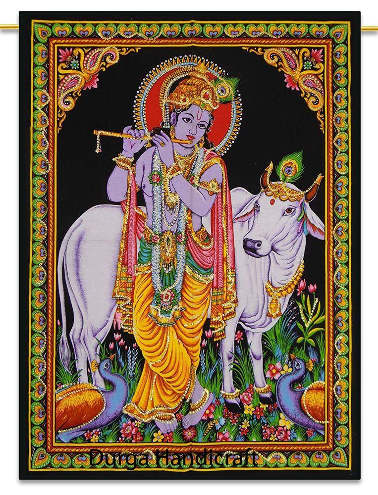 Krishna Radha Love on Lotus Sequin Wall Hanging Ethnic Tapestry Decor Art India