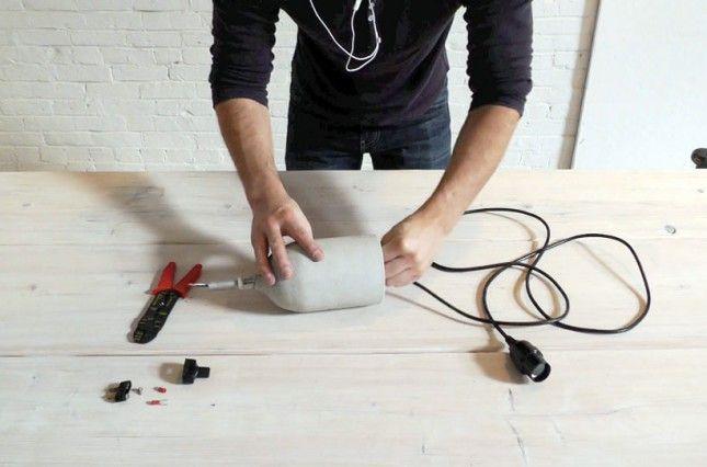 How to use plastic bottles to make concrete pendant lamps via brit co