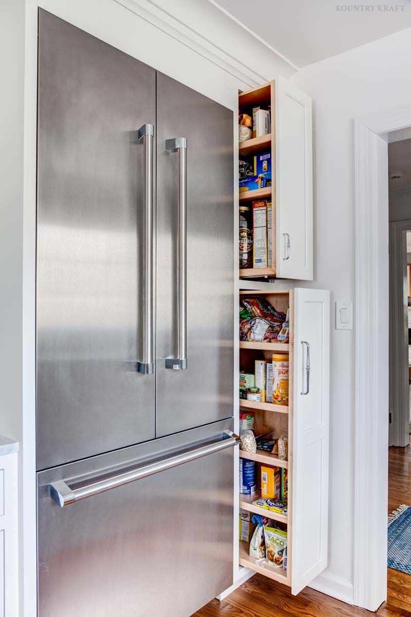Stainless steel French door fridge with pull out pantries ...