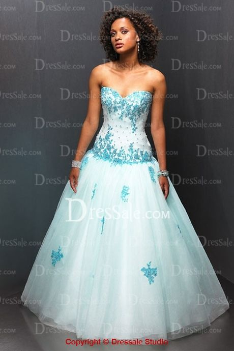 Sweetheart Neckline Light Blue Colored Organza Wedding Dresses with ...