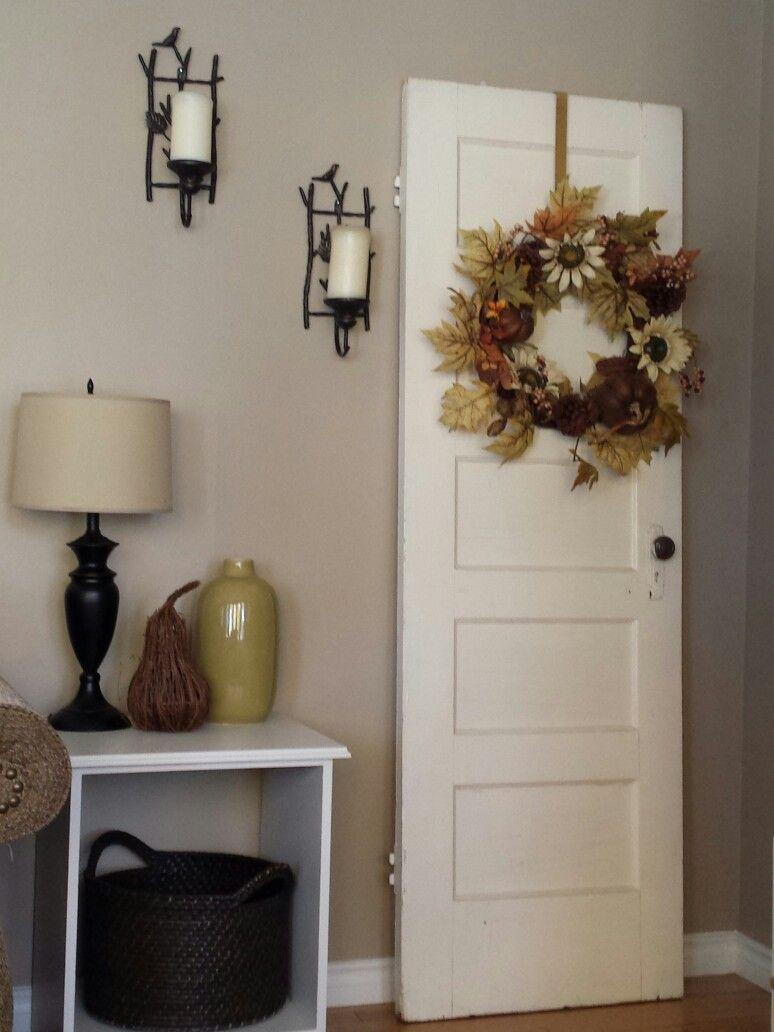 Antique door with wreath