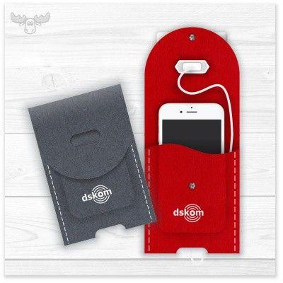 Handy-Ladetasche aus Filz passend für viele Smartphones in vielen Farben, Formen, mit oder ohne Logo...