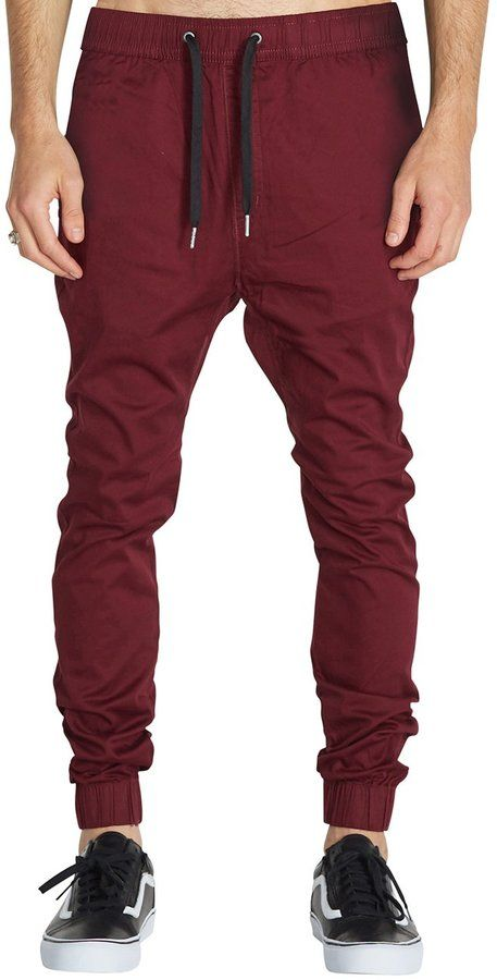 Italy Morn Man Drop Crotch Joggers Casuals Pant Sports Trousers Chinos M  Burgundy c86c276fb60