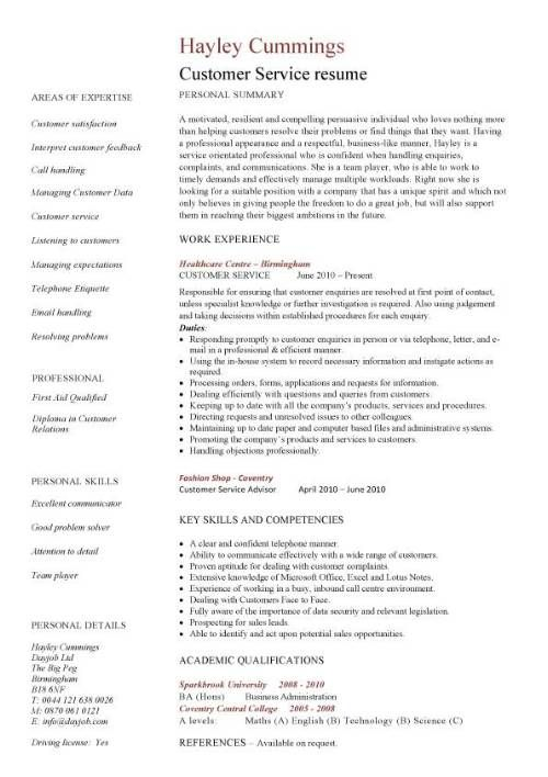 customer service resume template