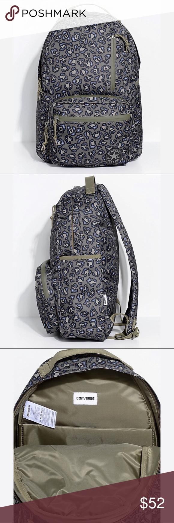 Converse Go Pack Olive Leopard Print Backpack Olive Green