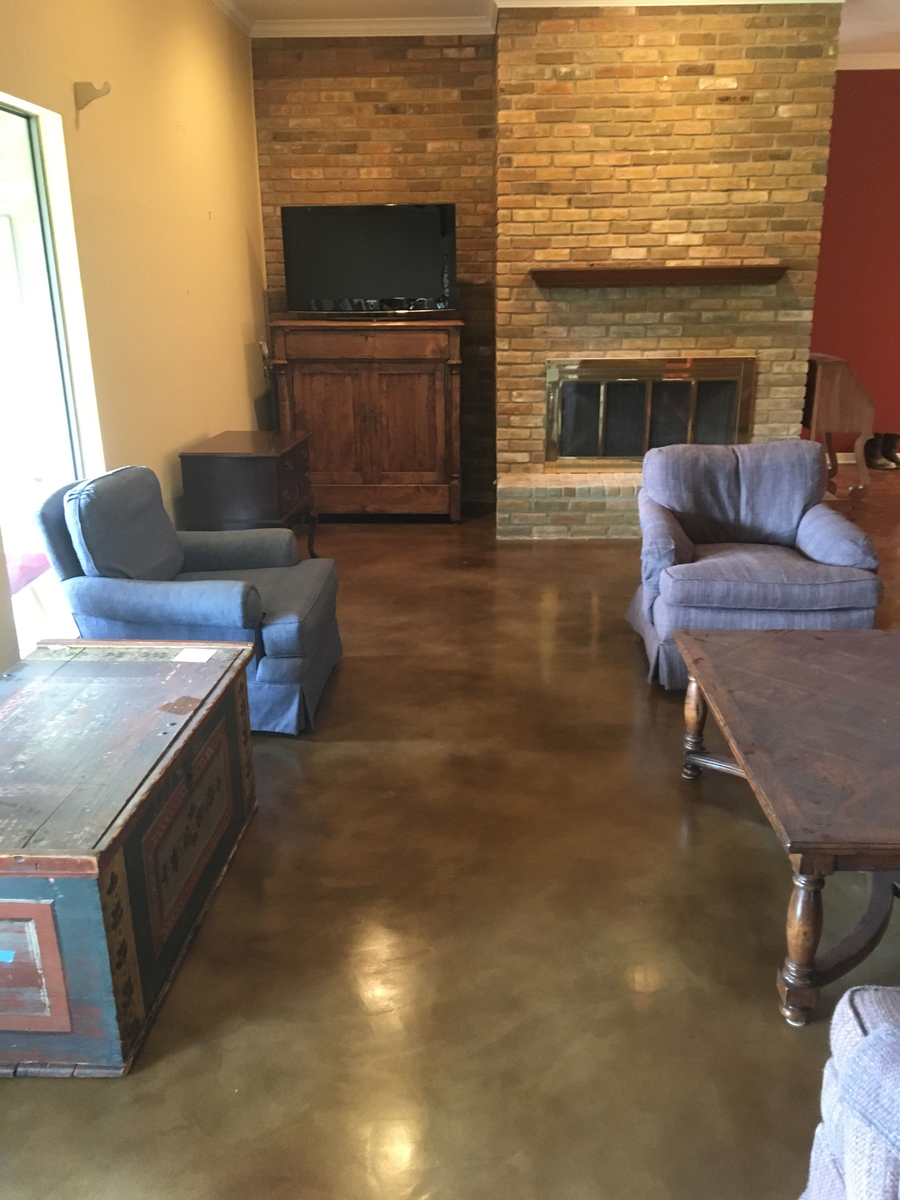 Here Is The Other Angle Of Stained Concrete Overlay Living Room Floor In Dallas Tx Hollandfloors