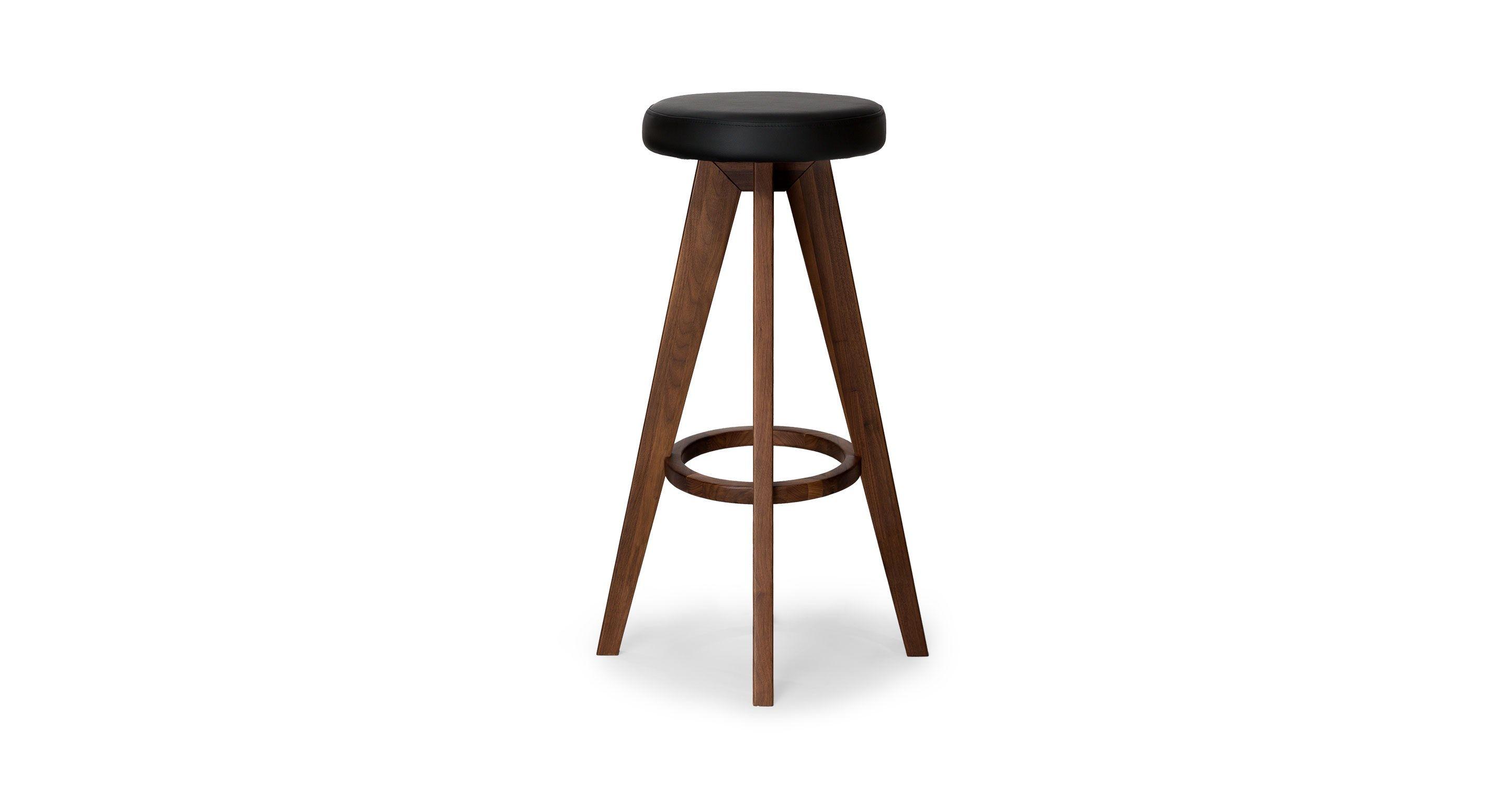 Superb Circo Black Leather Walnut Bar Stool Stools Bar Stools Short Links Chair Design For Home Short Linksinfo