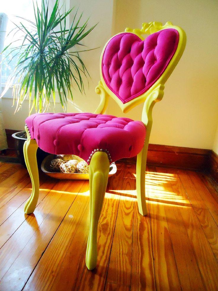1960s heart victorian chair velvet tufted antique
