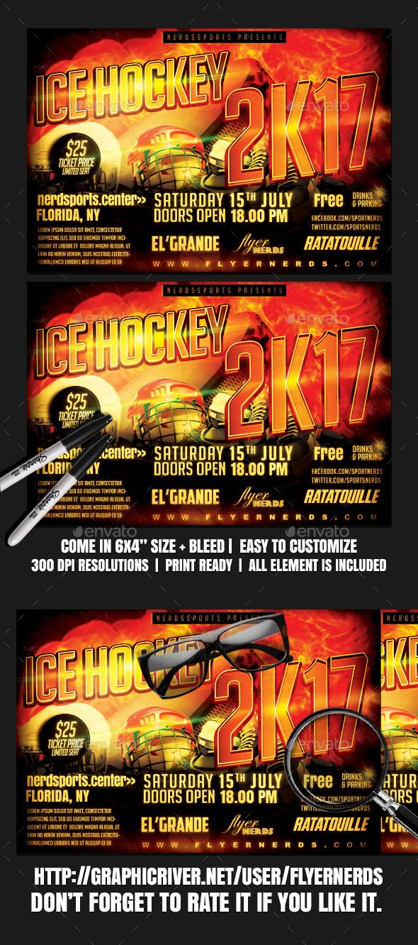 Ice Hockey 2K17 Sports Flyer | Ice hockey, Ice hockey and Flyer template