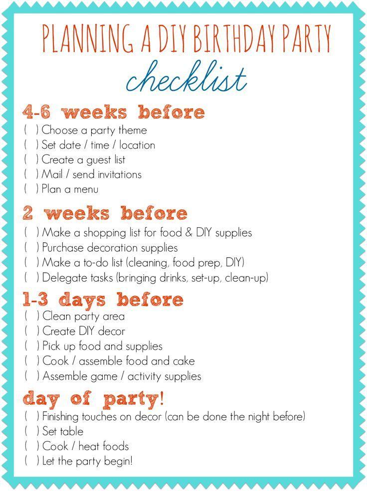 Party Planning Checklist Catering Pinterest 18ter Geburtstag