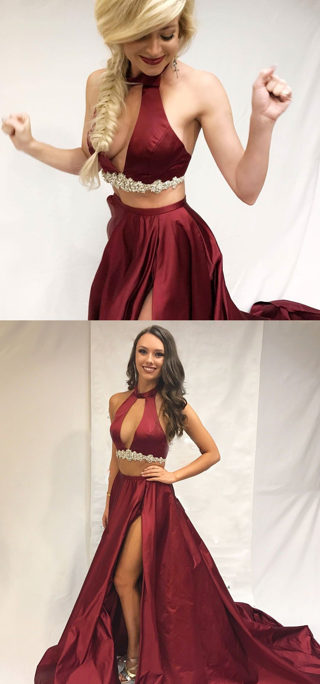 34035180246 Two Piece Burgundy Long Party Dress With Side Slit