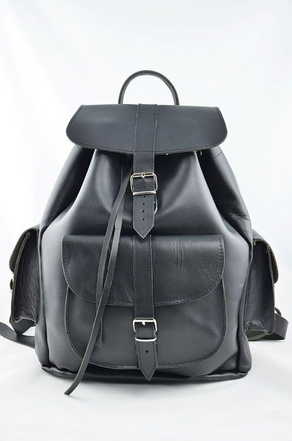 Black Leather Backpack -Leather three pocket Rucksack dc5ecae95adc4
