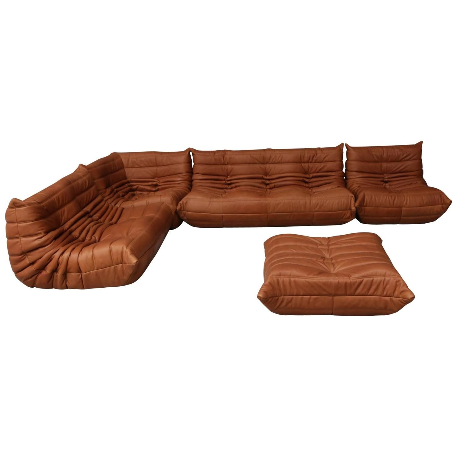 Vintage Ligne Roset Togo Set Reupholstered in Vintage Cognac Leather